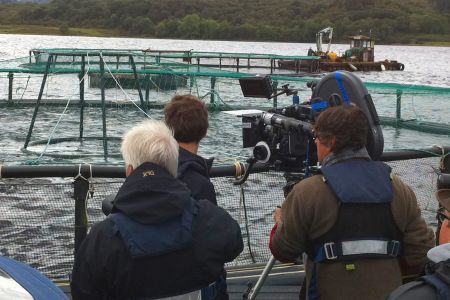 Filming at a local fish farm