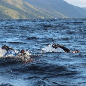 swimmer competing in the loch ness swim