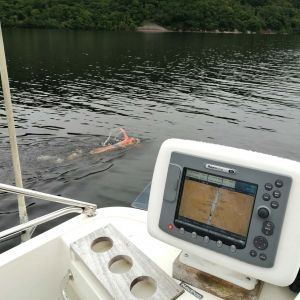 Following a swimmer on Loch Ness