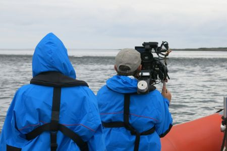 Filming offshore on a calm  day