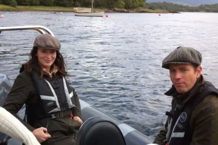 Emily Blunt and Ewan MacGregor   Filming for Salmon Fishing on the Yemen